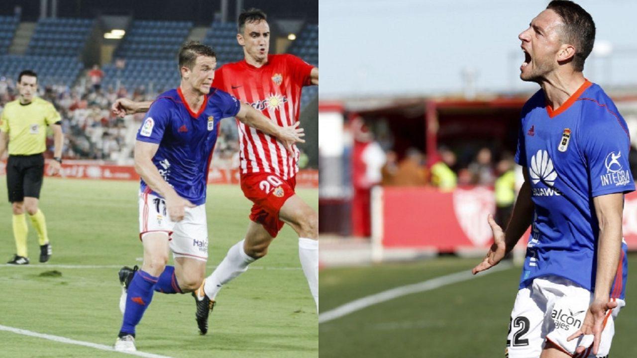 Mossa Pombo Zaragoza Real Oviedo La Romareda.Hidi y Rocha con la camiseta del Real Oviedo