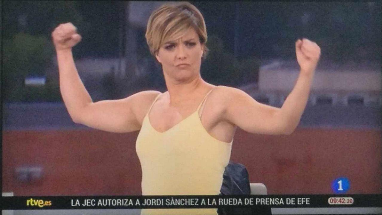 MARÍA CASADO MOSTRÁNDO MÚSCULO EN TVE