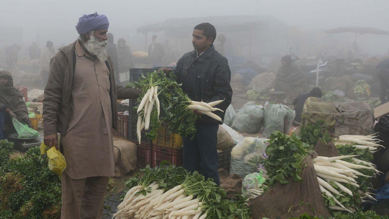 Un hombre vende rábanos en un mercado de verduras a las afueras de Amritsar, en India