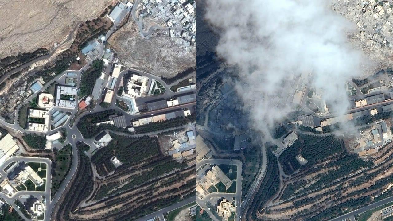 El antes y el después de los tres objetivos del ataque aliado sobre Siria.