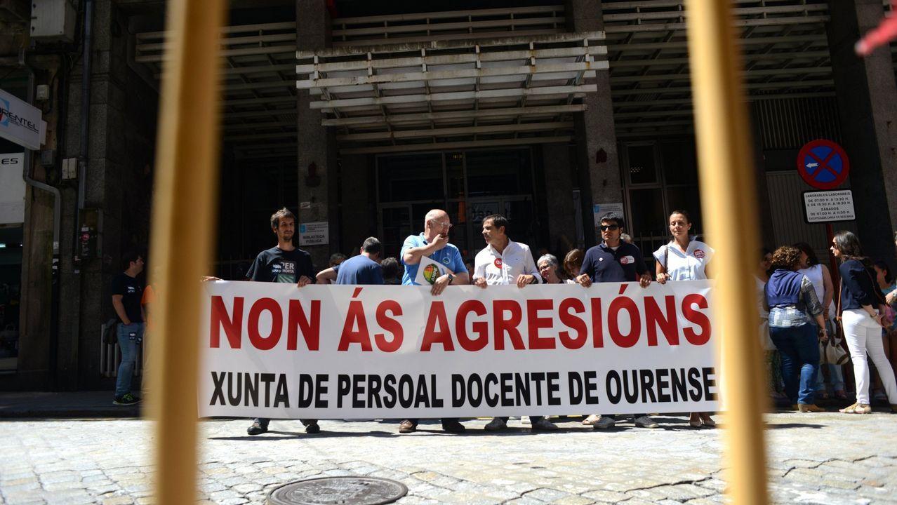 .Manifestación en el 2015 tras la agresión a una profesora en Verín