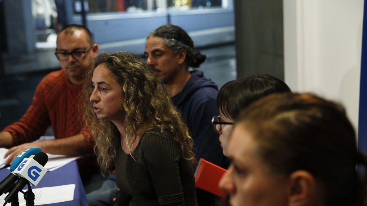 Pablo Nieves, Martiño Ramos y Raquel Bernárdez durante la rueda de prensa que ofrecieron el pasado martes para denunciar que la coordinadora tenía «secuestrado» el proceso de primarias