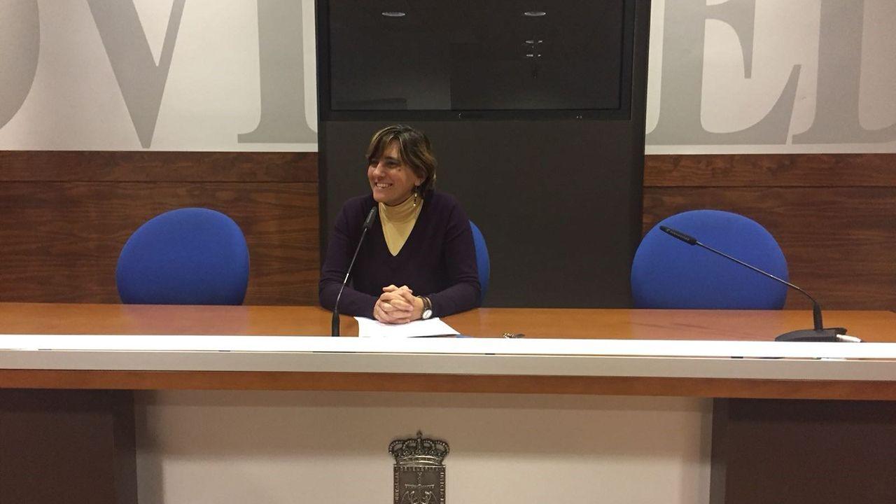 Rubén Rosón se dirige a Agustín Iglesias Caunedo, al término de un pleno de Oviedo.Ana Rivas