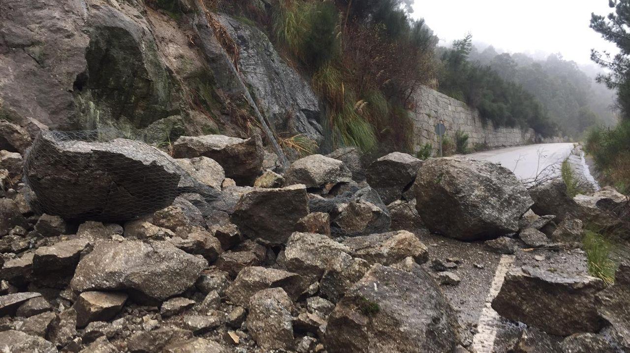 Un desprendimiento en el corredor do Morrazo corta el tráfico en la salida de Cangas.Alumnos del colegio Salesianos plantan árboles en Chandebrito