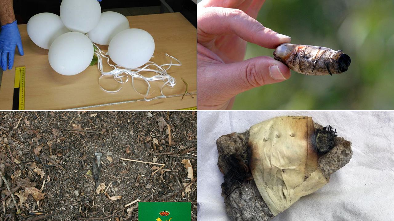Artefactos incendiarios hallados en Galicia