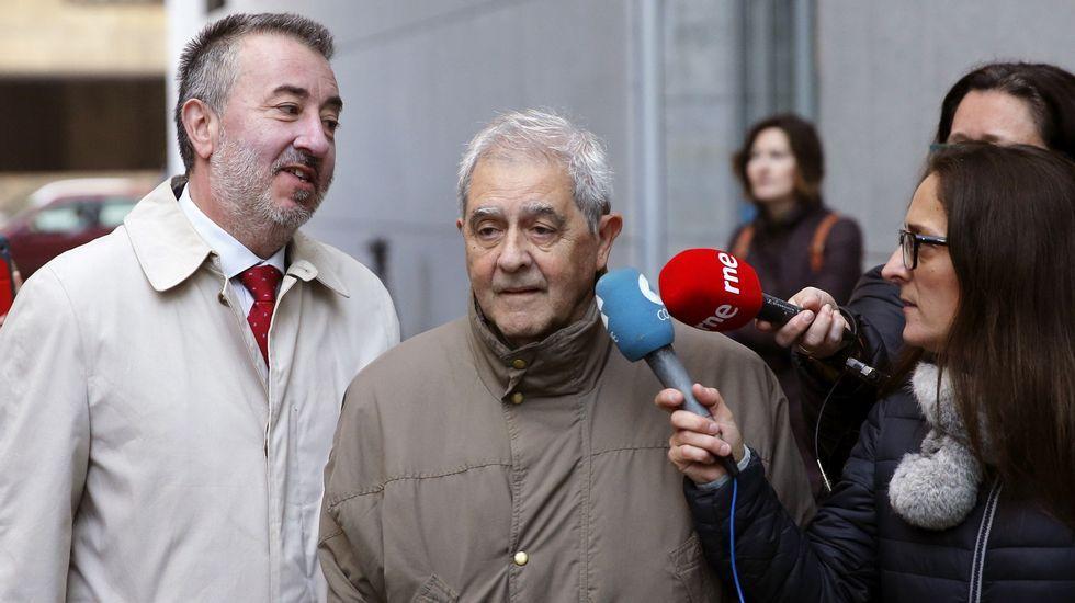 Los principales involucrados del caso Marea, durante el juicio. En el centro, los dos altos cargos de la Consejería de Educación, María Jesús Otero y José Luis Iglesias Riopedre
