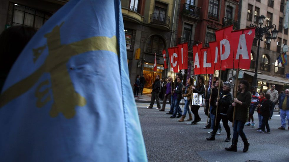 Protesta Acaip.Manifestación en defensa de la oficialidad de la llingua asturiana
