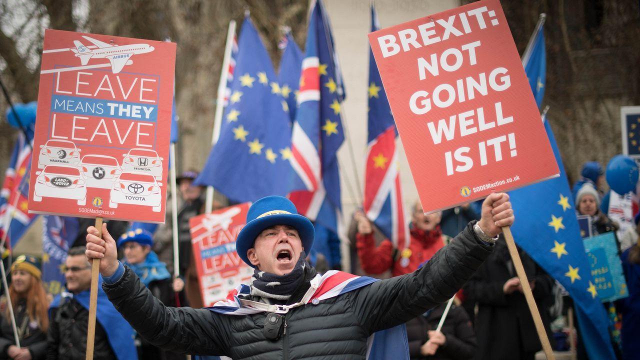 | EFE.Un activista proeuropeo, frente al Parlamento de Londres