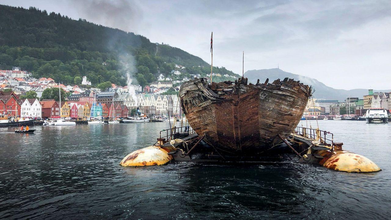Los restos de El Maud, último barco polar del mítico explorador noruego Roald Amundsen