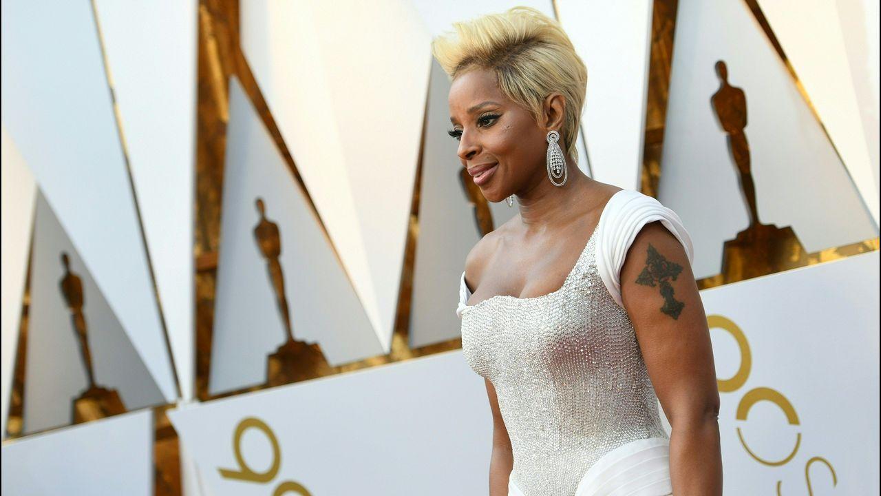 .Mary J. Blige, nominada como actriz y cantante, posa en la alfombra roja