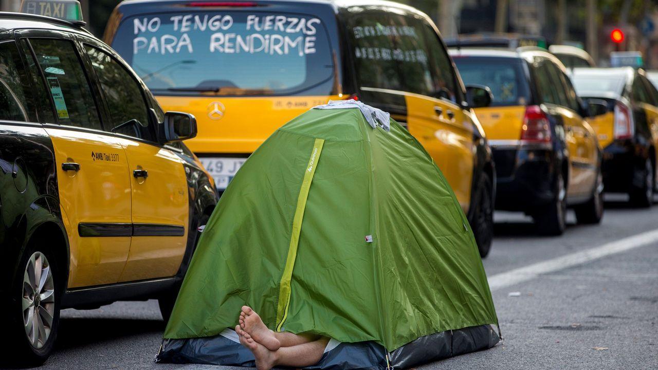 .Protestas de los taxistas de Barcelona
