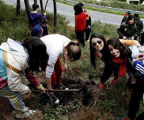 Un grupo de alumnas replantando castaños en la zona.