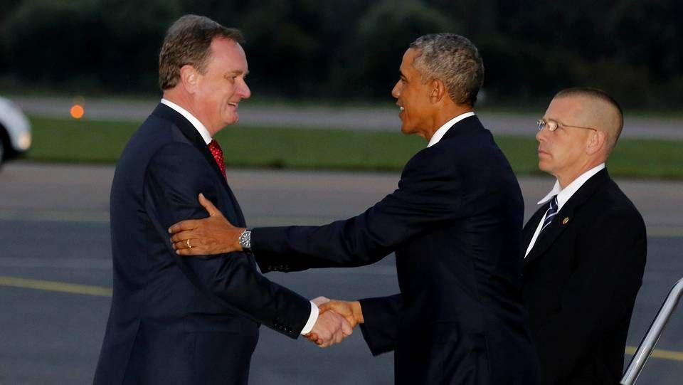 Barak Obama, recibido por el ministro de Exteriores estonio, Urmas Paet