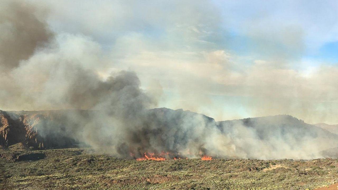 El incendio se declaró la tarde del miércoles en el Parque Nacional del Teide