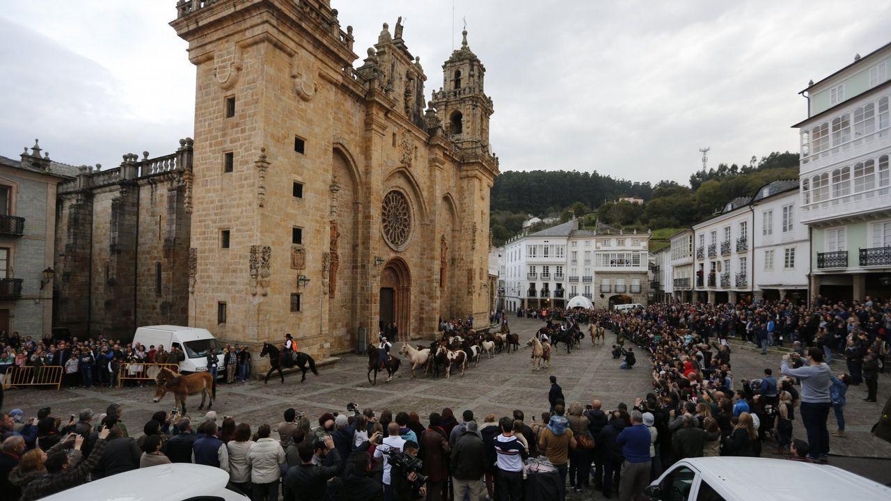 La catedral estrenó este año un sistema de visitas con audioguías. Una imagen inusual es la entrada de los caballos que llegan a As San Lucas