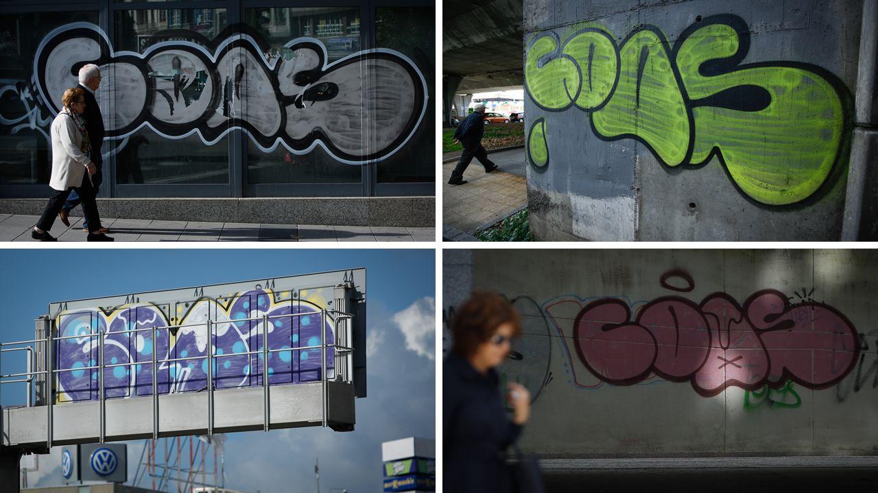 Algunas de las imágenes atribuidas al grafitero que salpican toda la ciudad