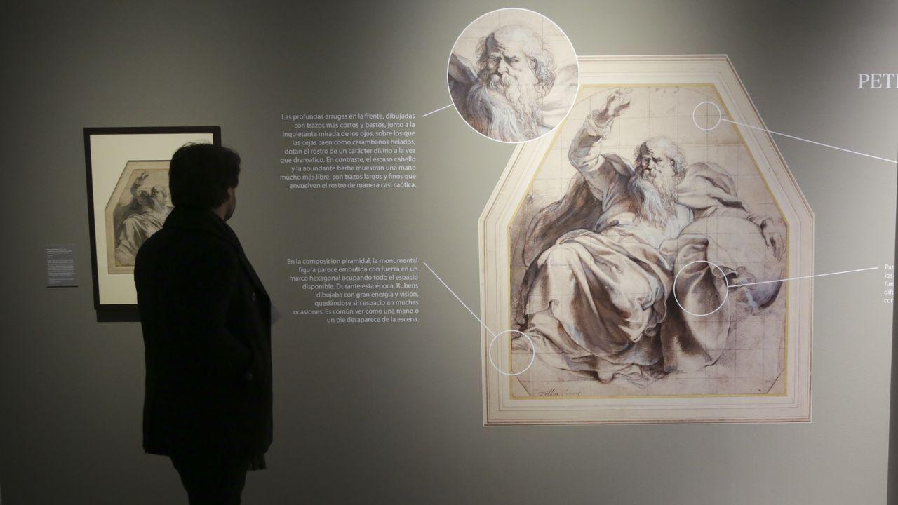 Las joyas contemporáneas de la Coleccion Fundación Cajastur Liberbank.Una obra de Rubens, «Dios padre», aparece ampliada y con explicaciones didácticas