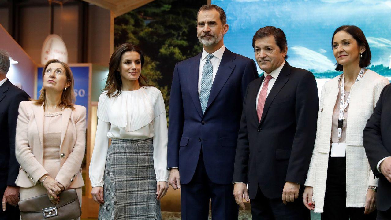 El rey Felipe VI y la reina Letizia, junto al presidente del Principado de Asturias , Javier Fernández (2d); la ministra de Industria, Comercio y Turismo, Reyes Maroto (d); y la presidenta del Congreso ,Ana Pastor (i), durante la inauguración de la 39 edición de la Feria Internacional de Turismo Fitur.