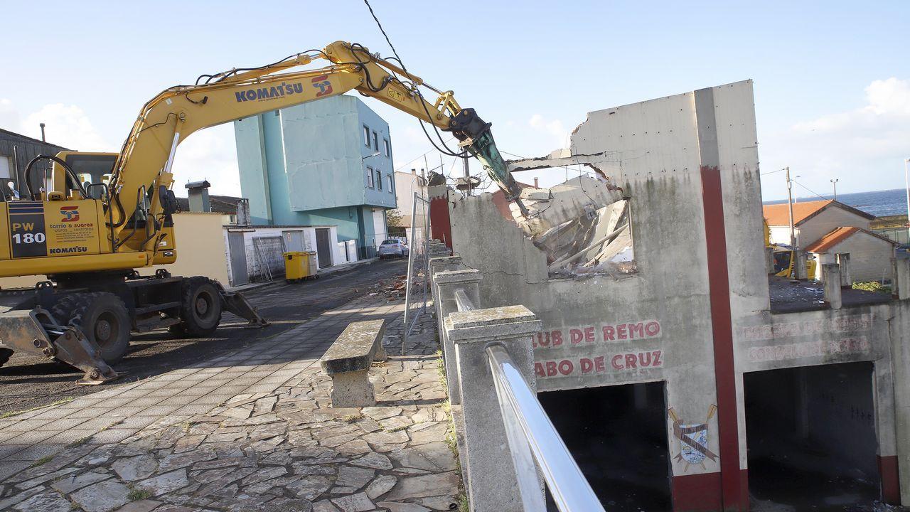 Demolición de la sede del club de remo.Imagen de Abuín Gey, tiempo antes de ser detenido como presunto autor del crimen de Diana Quer