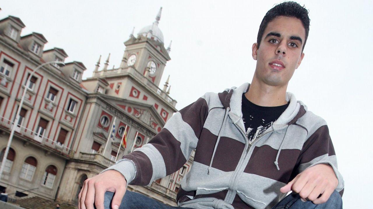 Juan Domínguez en su primera entrevista como jugador del juvenil del Deportivo