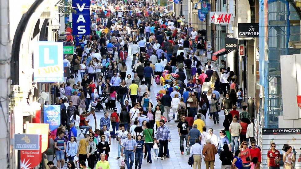 Príncipe y Urzaiz. La calle Príncipe, en la imagen, es la más cara de Galicia, a 720 euros el metro. En Urzaiz cuesta 600.