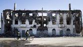 Edificio en ruinas en Debáltsevo.