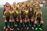 Imagen de un once inicial del Orzán C de fútbol femenino.