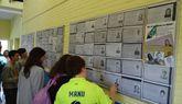 Los estudiantes revisan las fichas de los emigrantes para indagar sobre su historia particular.