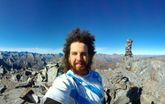 David Villares, no cumio do Mount Armstrong, de 2.147 metros e altitude, no Aspiring National Park.