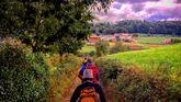 Un grupo de peregrinos se dirige hacia Borres.