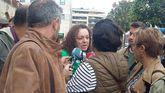 Elena González, presidente de la FAPA Miguel Virgós, durante la huelga contra las reválidas