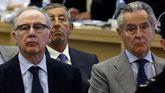 Rodrigo Rato y Miguel Blesa, durante el juicio por las tarjetas black de Caja Madrid