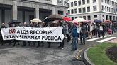 Pancarta con la que los sindicatos docentes escenifican sus exigencias a Educación, en plaza de España