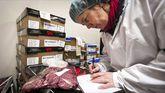 Una inspectora de alimentación analiza un trozo de carne en un laboratorio de Utrecht, Holanda