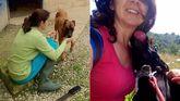 A la izquierda, Rebeca García, también voluntaria, con «Roma». A la derecha, Silvia Menéndez, otra voluntaria, recibe el cariño de «Mora».