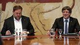 Oriol Junqueras, vicepresidente de la Generalitat, junto al presidente Carles Puigdemont