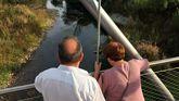 Río Cabe, en Monforte. Antes de entrar en el centro de la ciudad el caudal apenas supera los 20 centímetros.