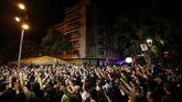 Protesta independentista delante de un hotel en Pineda