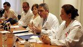María Morete, a la derecha, en una foto de archivo durante una rueda de prensa