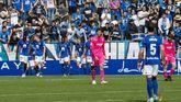 Los jugadores del Real Oviedo celebran el 2-0