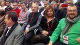 Desde la derecha, Adrián Barbón, Gimena Llamedo, Wencesalo López, José María Pérez, José Luis Alperi y Enrique Fernández