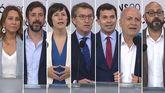 Beatriz Pino (Cs), Antón Gómez Reino (Galicia en Común), Ana Pontón (BNG), Feijoo (PP), Gonzalo Caballero (PSdeG), Pancho Casal (Marea Galeguista) y Ricardo Morado (Vox)