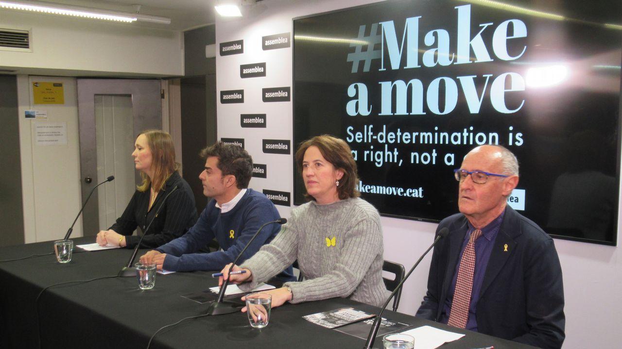 En directo y en streaming, el juicio del procés.Andrea Viñamata, Mario Muñoz, Elisenda Paluzie y Pep Cruanyes (ANC), hoy en rueda de prensa