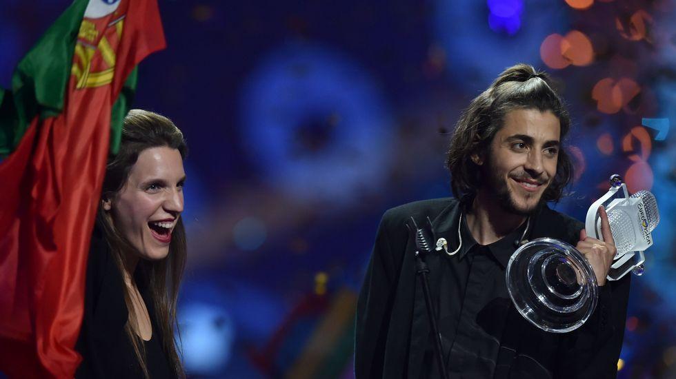 Salvador Sobral, exultante tras ganar Eurovisión