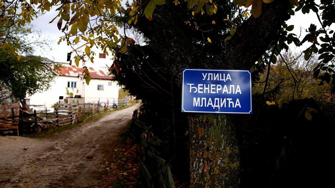 .Un letrero que dice «General Mladic Street» cuelga de un árbol en el pueblo natal del exgeneral
