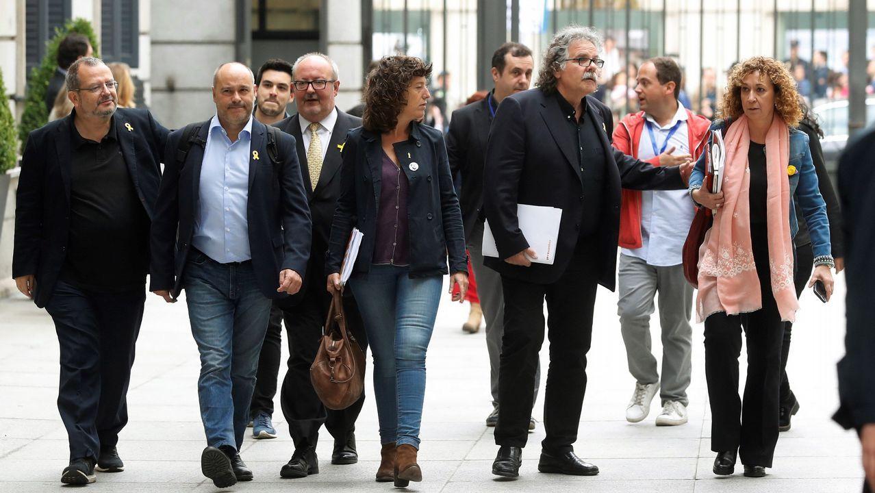 Los diputados de ERC, entre ellos Joan Tardá, llegando al Congreso.