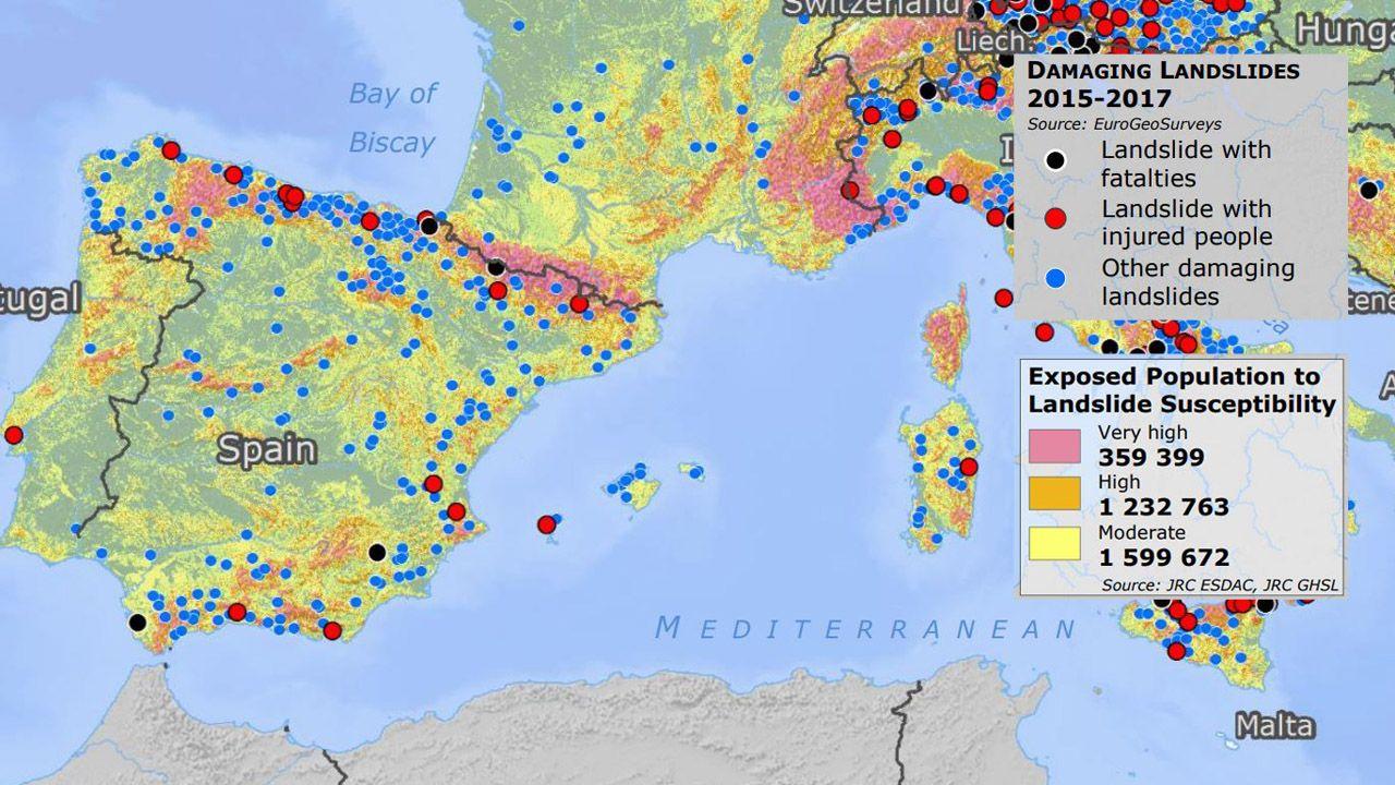 Madrid.Mapa europeo realizado con el riesgo de deslizamientos