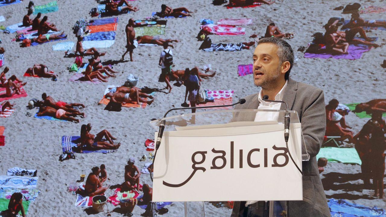 .El alcalde de A Coruña, Xulio Ferreiro, durante la presentación de la ciudad de A Coruña en el stand de Galicia en Fitur.