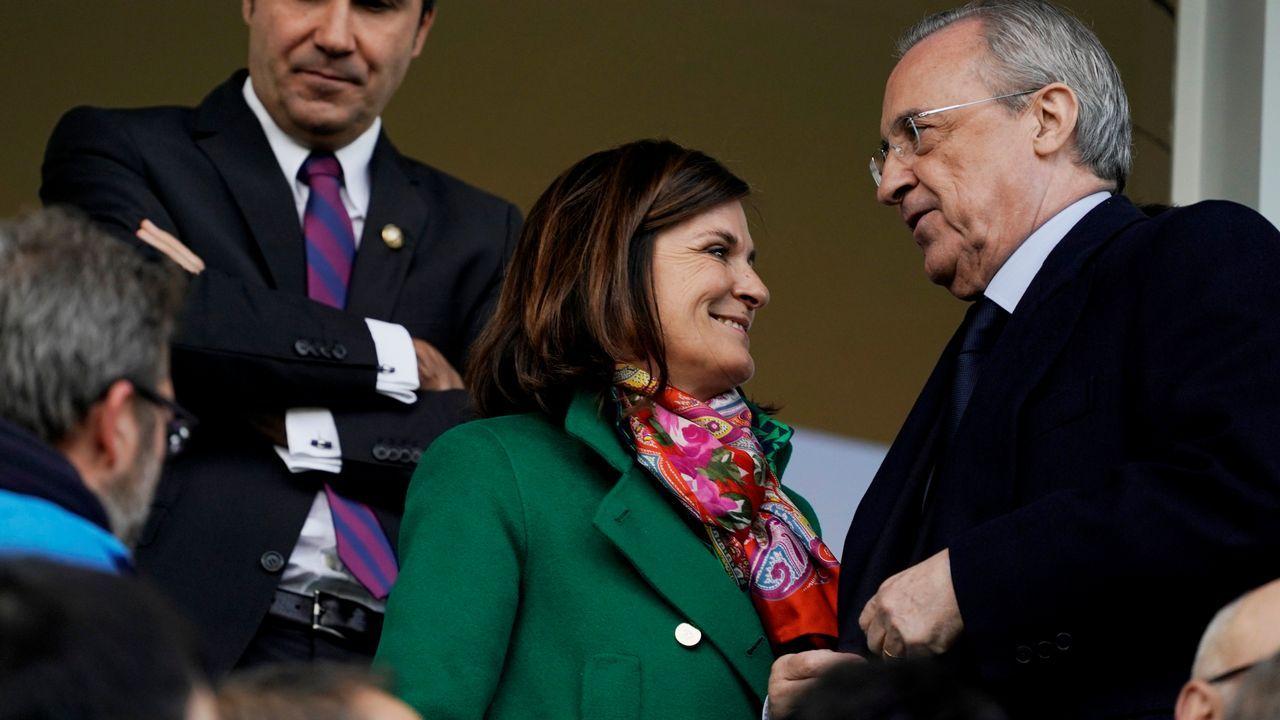Amaia Gorostiza y Florentino Perez, en el palco de Ipuruá