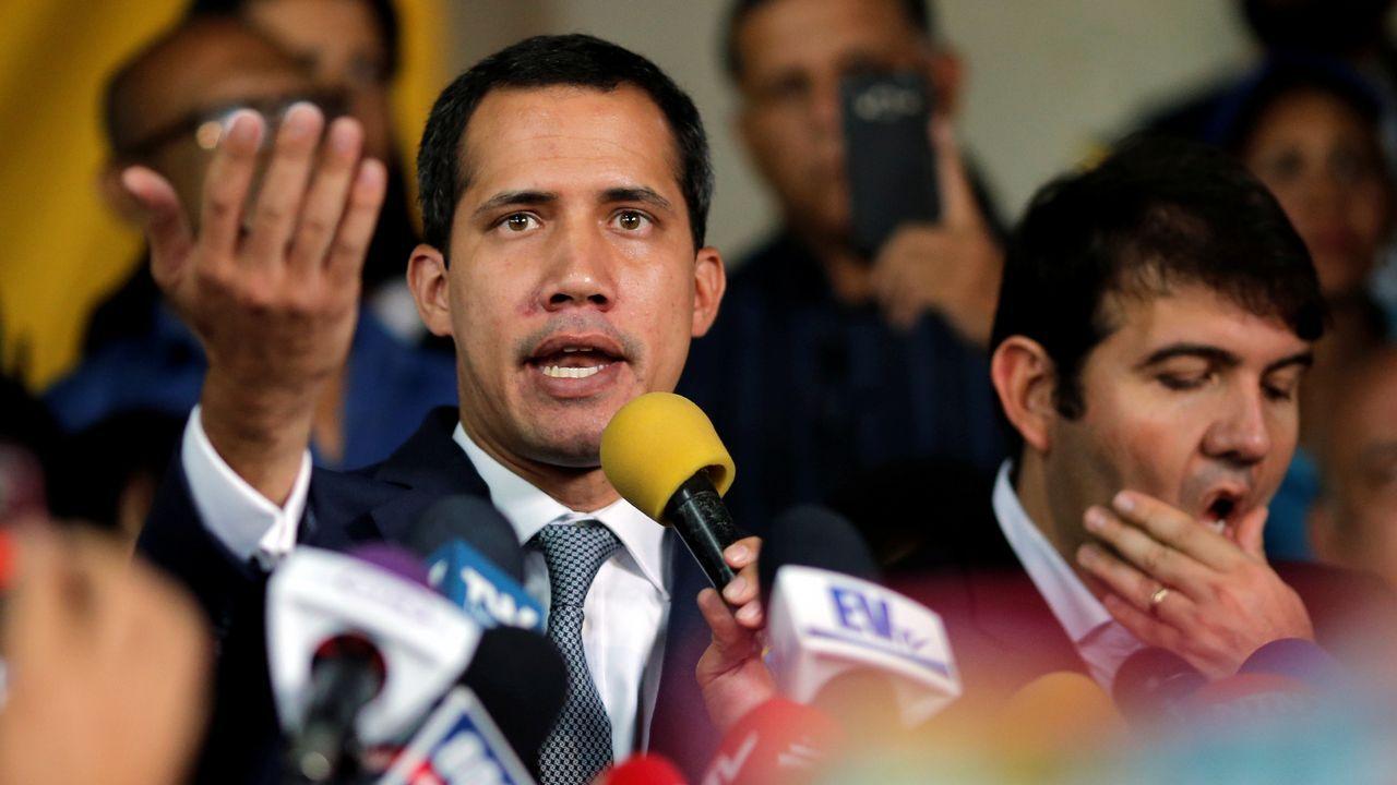Juan Guaidó, durante su comparecencia de este viernes